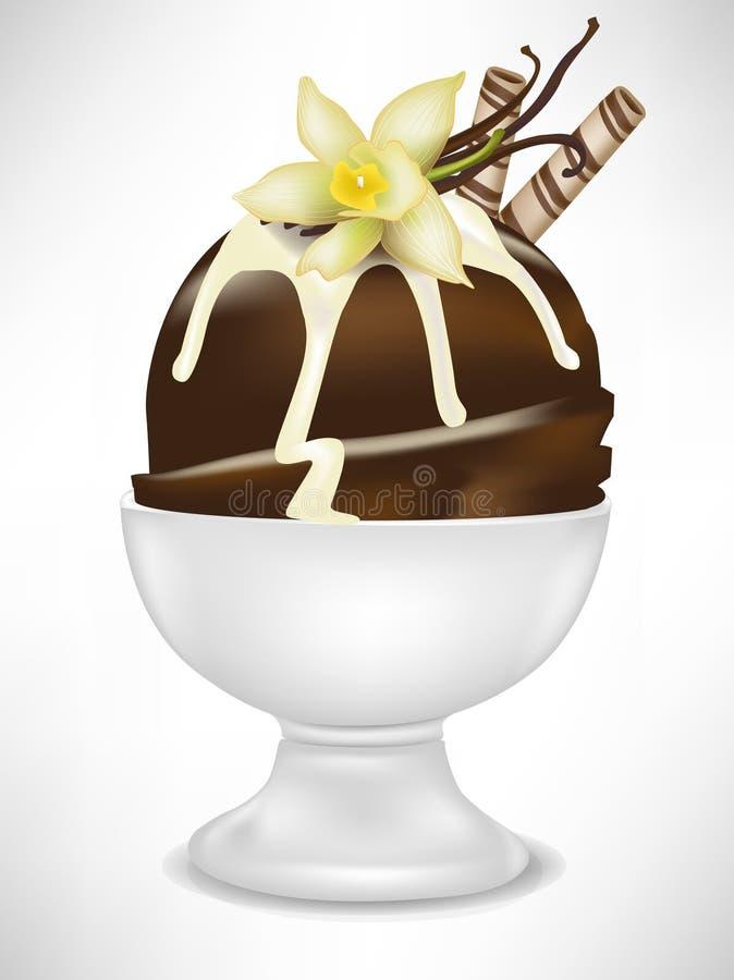 Crême glacée de chocolat avec la vanille dans la cuvette illustration de vecteur