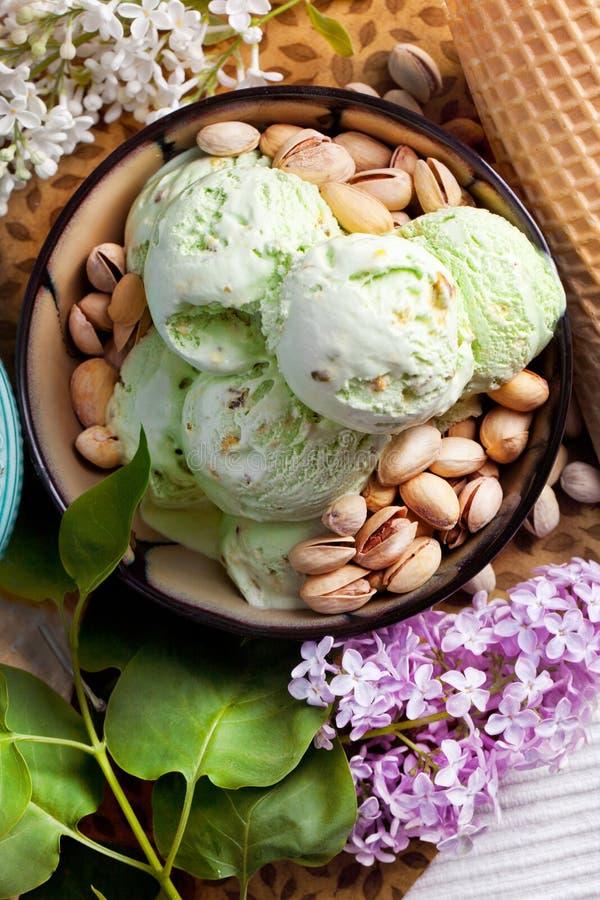 Crême glacée de pistache photographie stock libre de droits