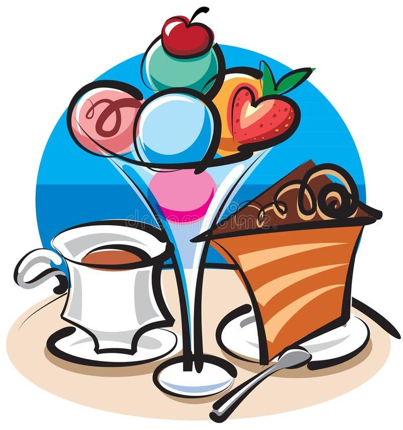 Crême glacée et gâteau illustration libre de droits