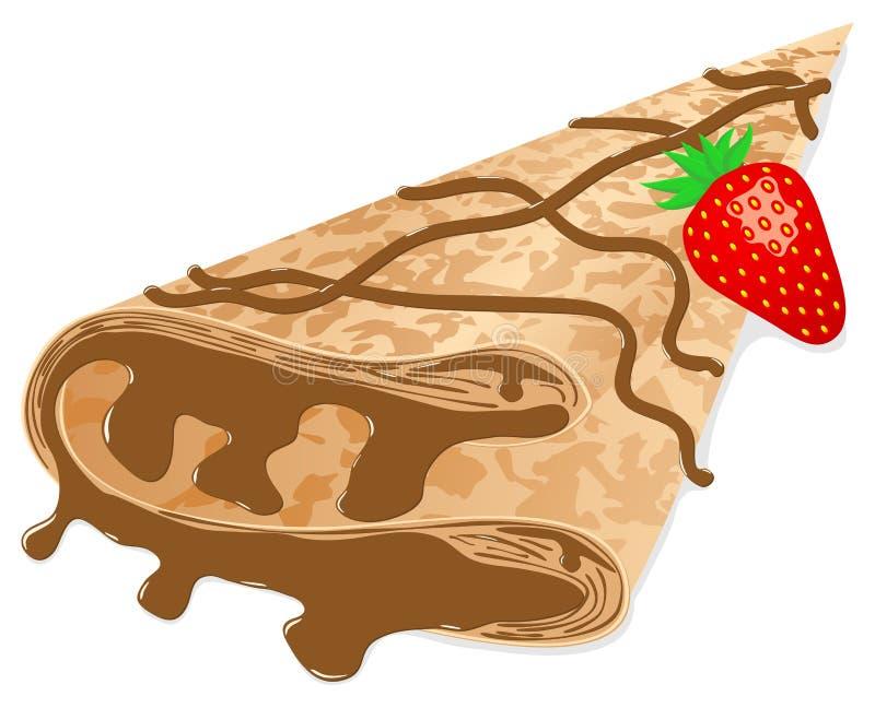 Crêpe (crêpe) avec du chocolat et la fraise illustration de vecteur