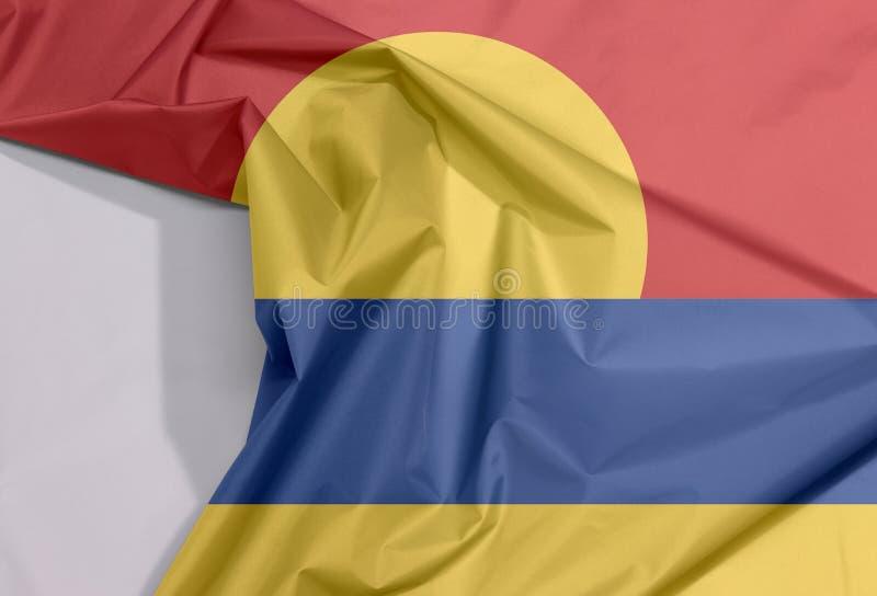 Crêpe della bandiera del tessuto delle Isole minori degli Stati Uniti e spazio bianco e del piega immagini stock libere da diritti