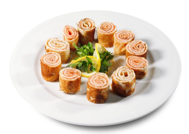 Crêpes avec des saumons image libre de droits