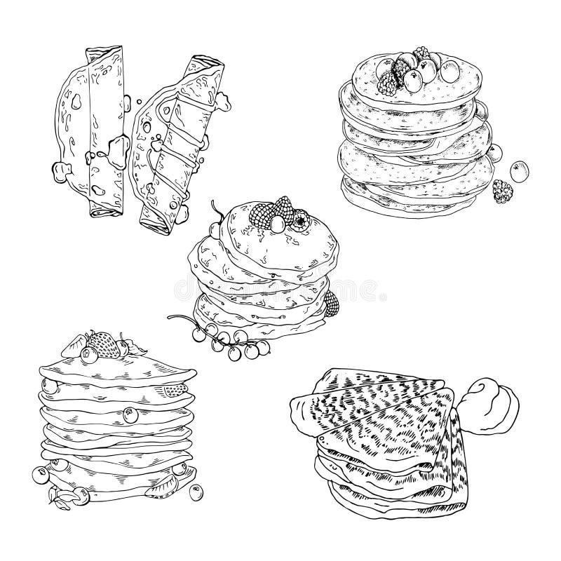 Crêpes et ensemble de crêpes Croquis de vecteur illustration libre de droits