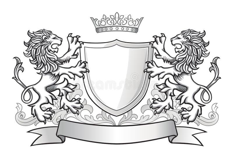 Crête avec deux lions et un bouclier illustration libre de droits
