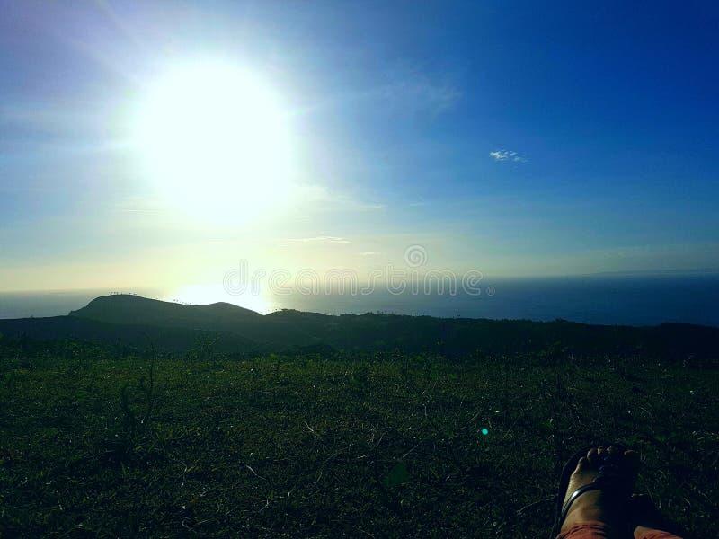Crête Baybay, coucher du soleil de Lintaon de Leyte photographie stock libre de droits