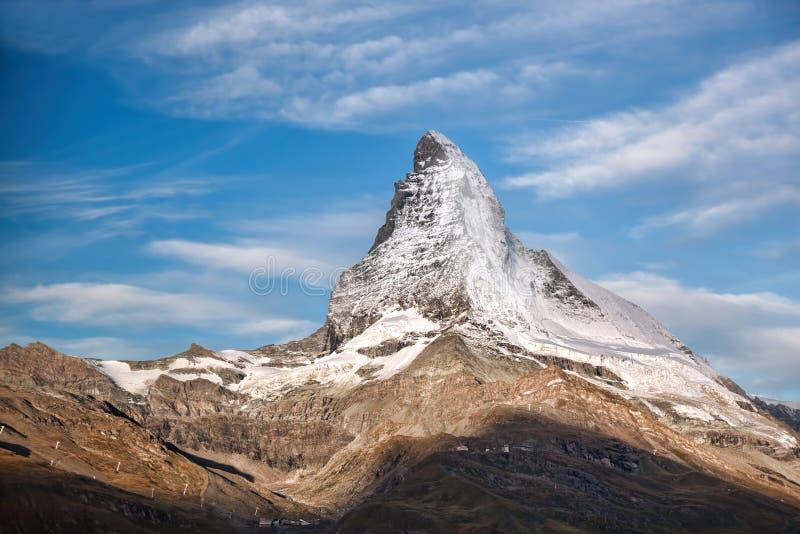 Crête de Matterhorn contre le coucher du soleil dans la région de Zermatt, Suisse images stock