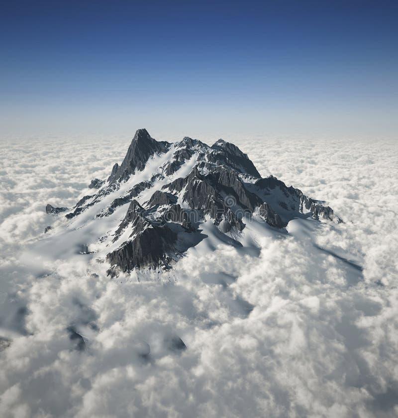 Crête de montagne au-dessus des nuages illustration de vecteur