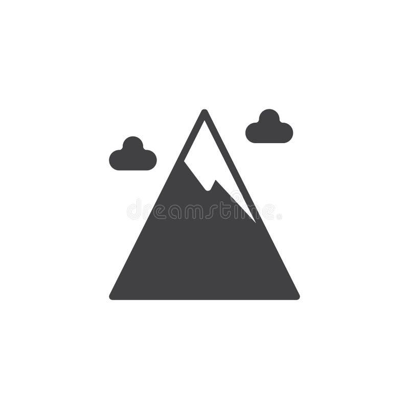 Crête de montagne de neige et vecteur d'icône de nuages d'hiver illustration libre de droits
