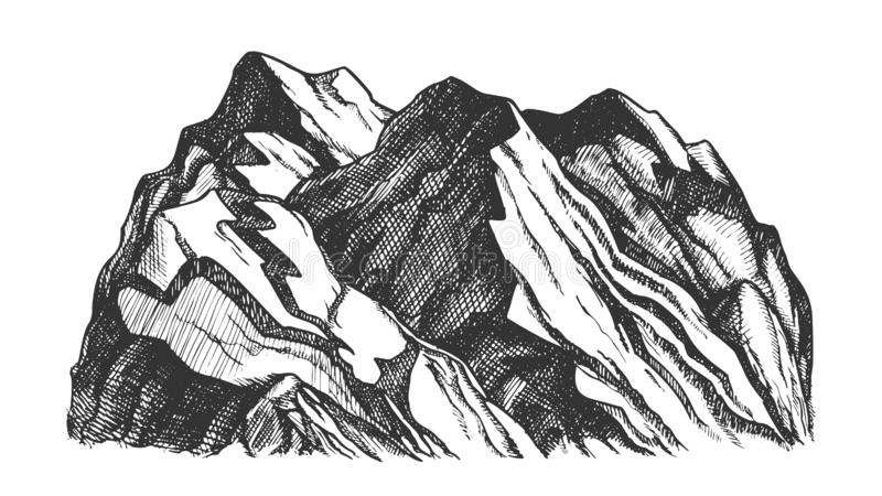 Crête de vecteur de Rocky Mountain Landscape Hand Drawn illustration libre de droits