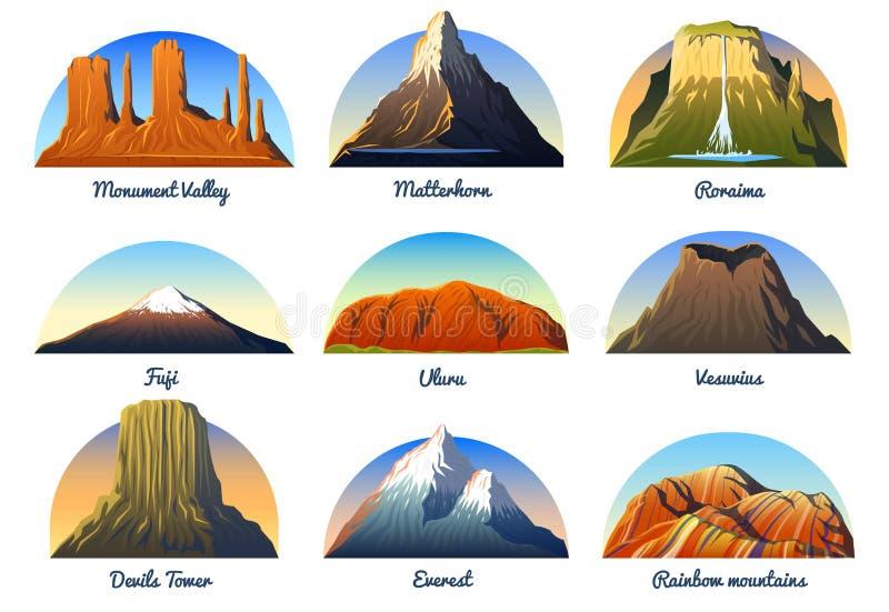 Crêtes de montagnes, paysage tôt dans une lumière du jour, grand ensemble vallée de monument, Matterhorn, roraima, Fuji ou uluru, illustration stock
