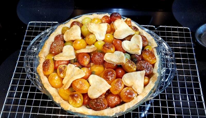 Crûte de coeur à tarte tomate images libres de droits