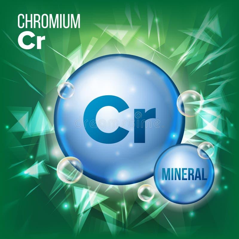 Cr-Chrom-Vektor Blaue Pillen-Mineralikone Vitamin-Kapsel-Pillen-Ikone Substanz für Schönheit, Kosmetik, Heath Promo Ads stock abbildung
