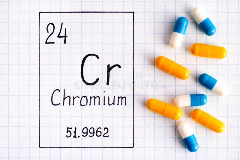 Cr de chrome d'élément chimique d'écriture avec quelques pilules photographie stock libre de droits
