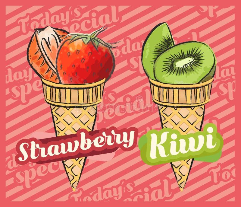 Cr?me glac?e de fraise Kiwi Ice Cream Illustration de vecteur de cornet de cr?me glac?e de fruit, conception tir?e par la main illustration de vecteur