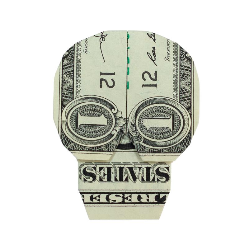 CRÂNE d'origami d'argent plié avec vrai un billet d'un dollar photographie stock