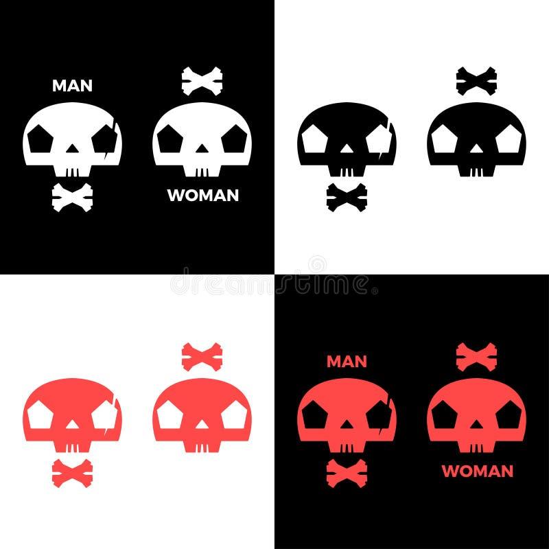 CRÂNE de l'homme et de la femme image stock