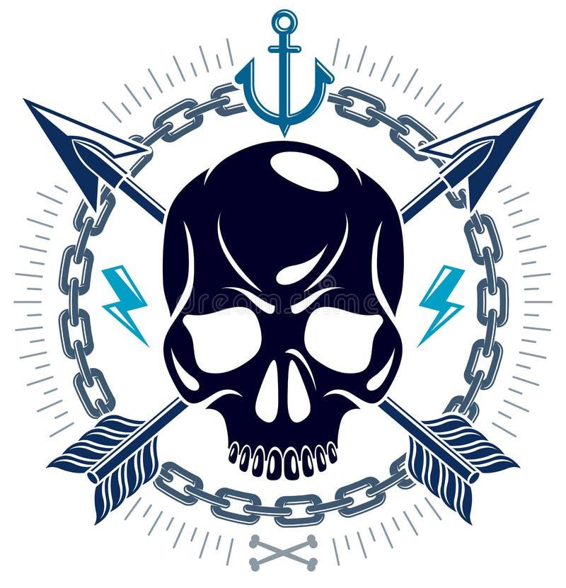 Cr?neo agresivo de la cabeza muerta de Jolly Roger, emblema del vector de los piratas o logotipo con las armas y otros elementos  libre illustration