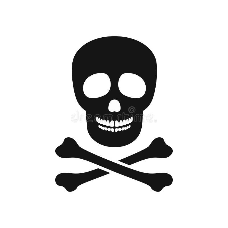Cr?neo con los huesos Icono blanco negro simple stock de ilustración
