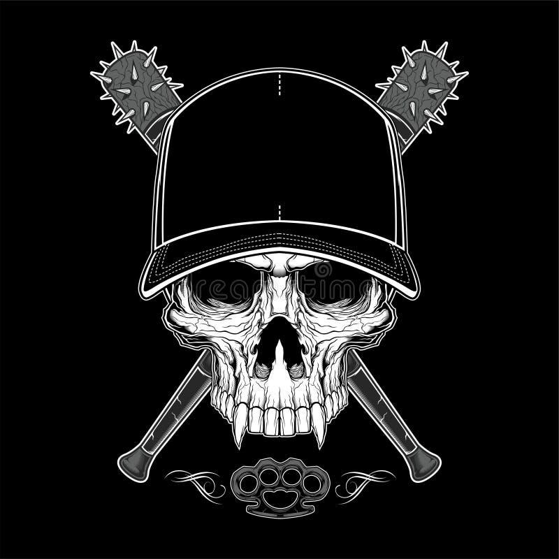 Cr?nio do bandido do vintage no tamp?o do moderno e nas m?os de esqueleto que guardam a ilustra??o isolada bast?es de beisebol cr ilustração royalty free