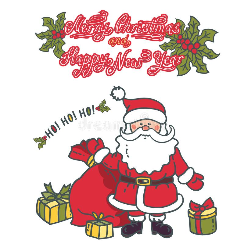 Santa Claus with bag and gifts stock illustration