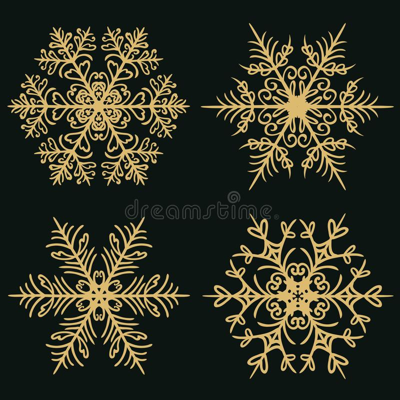 Set of winter snowflakes on a dark golden background stock illustration