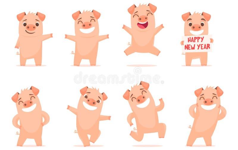 Vector little cartoon pigs characters posing in different situations. Set 1. Vector little cartoon pigs characters posing in different situations. Illustrations vector illustration