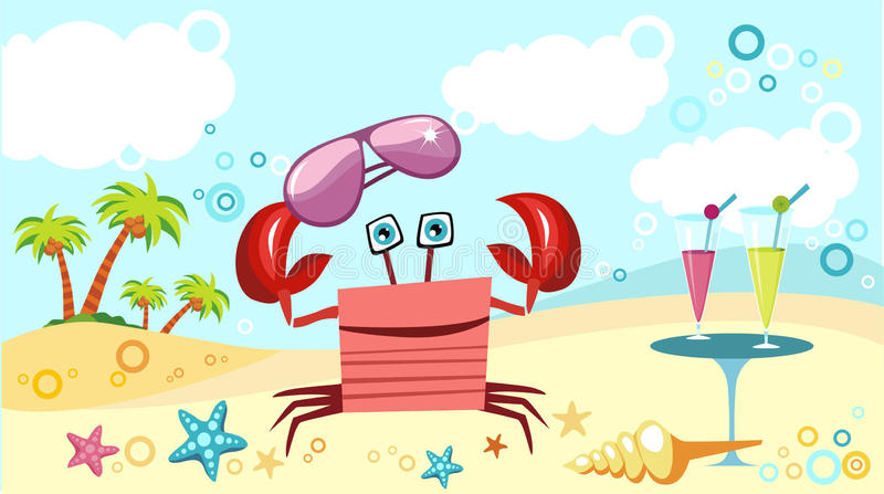 crab at the beach vector illustration