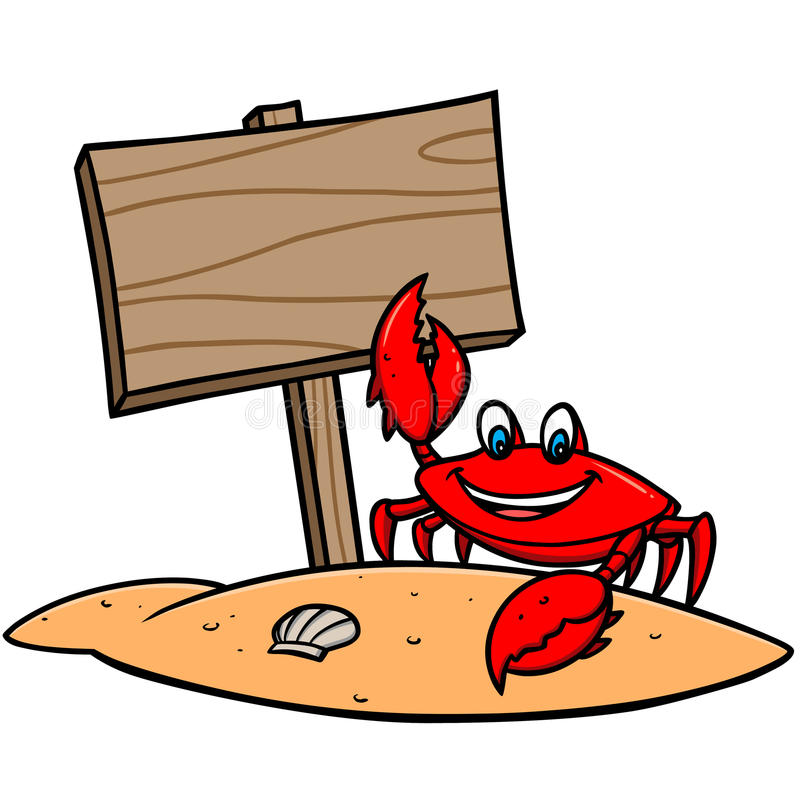 Crab Beach Sign stock vector. Illustration of painting ...