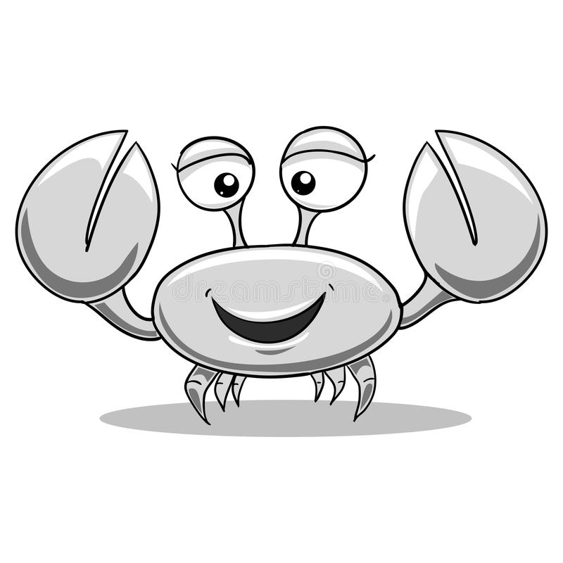 Crab black and white colorless illustration. Crab black and white colorless vector illustration