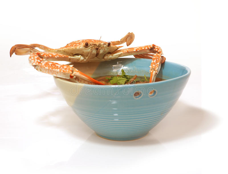 Crab on bowl menu is Braised fish maw. Braised fish maw in red gravy abalone mushroom with crab meat, The presentation of the more interesting and difference on royalty free stock image