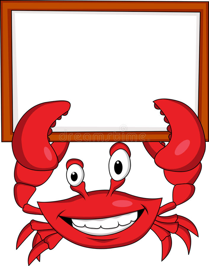 Download Crab Cartoon With Blank Sign Stock Illustration - Image: 24141299