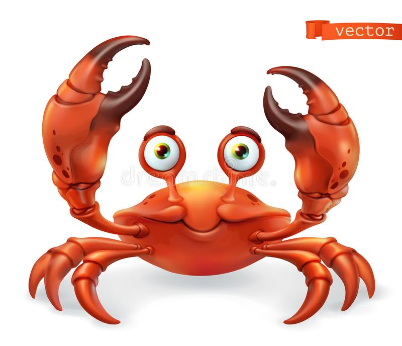 Crab cartoon character. Funny animal 3d vector icon vector illustration