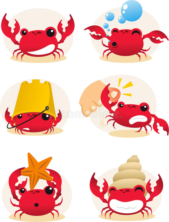Crab cartoon set. Red cartoon crab action set, with six different crabs in different situations illustration stock illustration