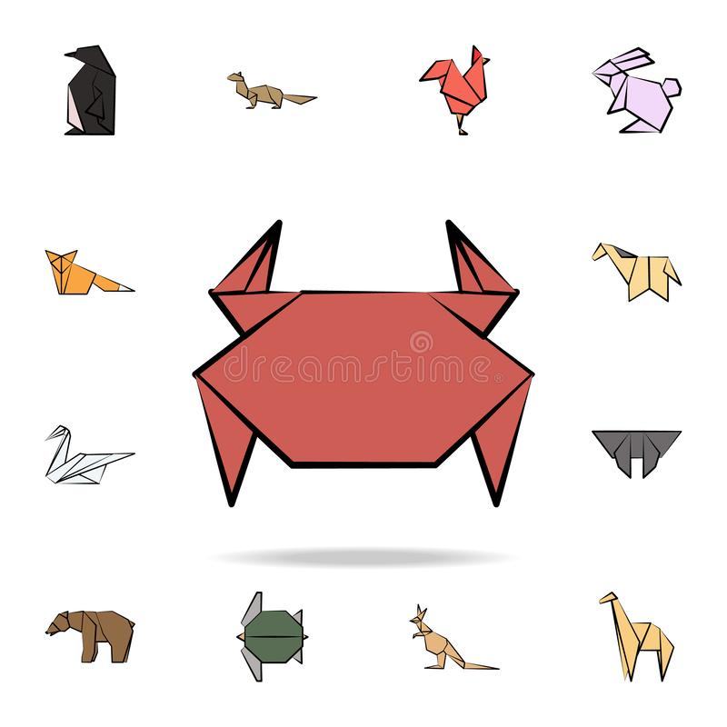 Crab colored origami icon. Detailed set of origami animal in hand drawn style icons. Premium graphic design. One of the collection. Icons for websites, web vector illustration