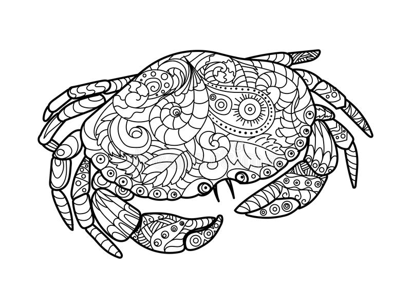 Crab Coloring Book For Adults Vector Stock Vector