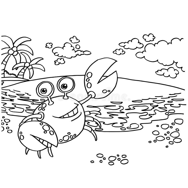 Crab Coloring Pages vector stock vector. Illustration of seafood ...