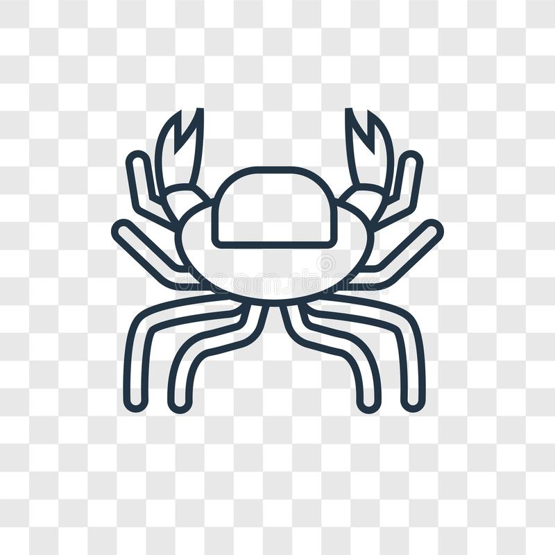 Crab concept vector linear icon isolated on transparent background, Crab concept transparency logo in outline style. Crab concept vector linear icon isolated on stock illustration