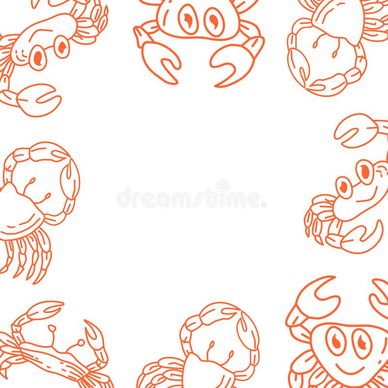Crab Frame Empty Template Vector stock illustration