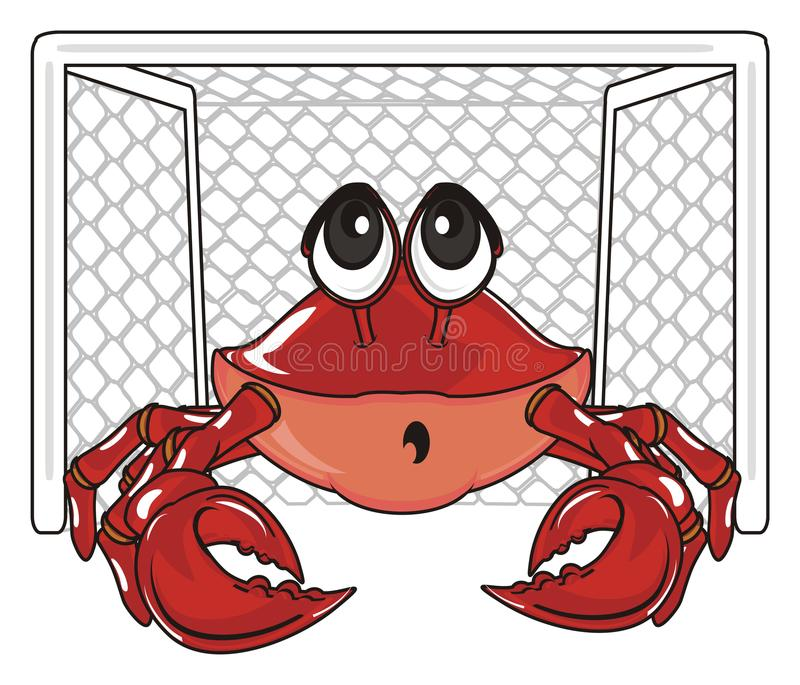 Crab and gate. Surprise crab stand on the empty gate and watch stock illustration