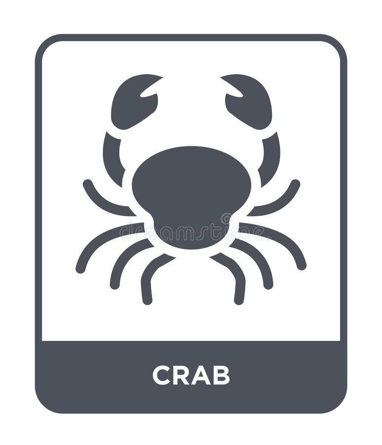 Crab icon in trendy design style. crab icon isolated on white background. crab vector icon simple and modern flat symbol for web. Site, mobile, logo, app, UI stock illustration
