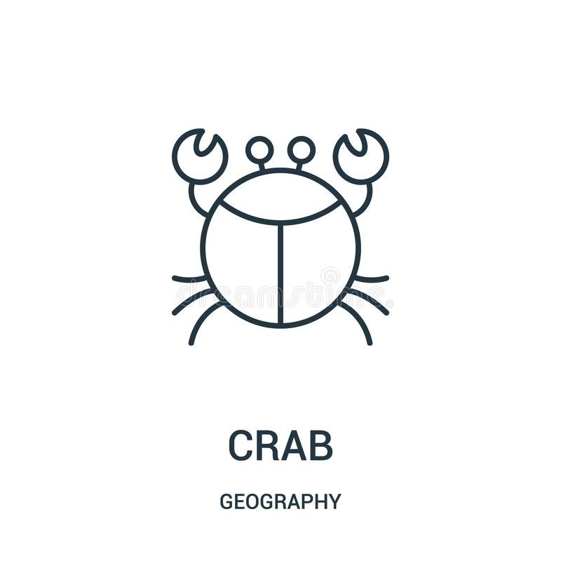 crab icon vector from geography collection. Thin line crab outline icon vector illustration vector illustration