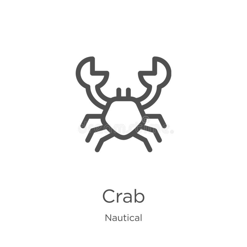 crab icon vector from nautical collection. Thin line crab outline icon vector illustration. Outline, thin line crab icon for stock illustration
