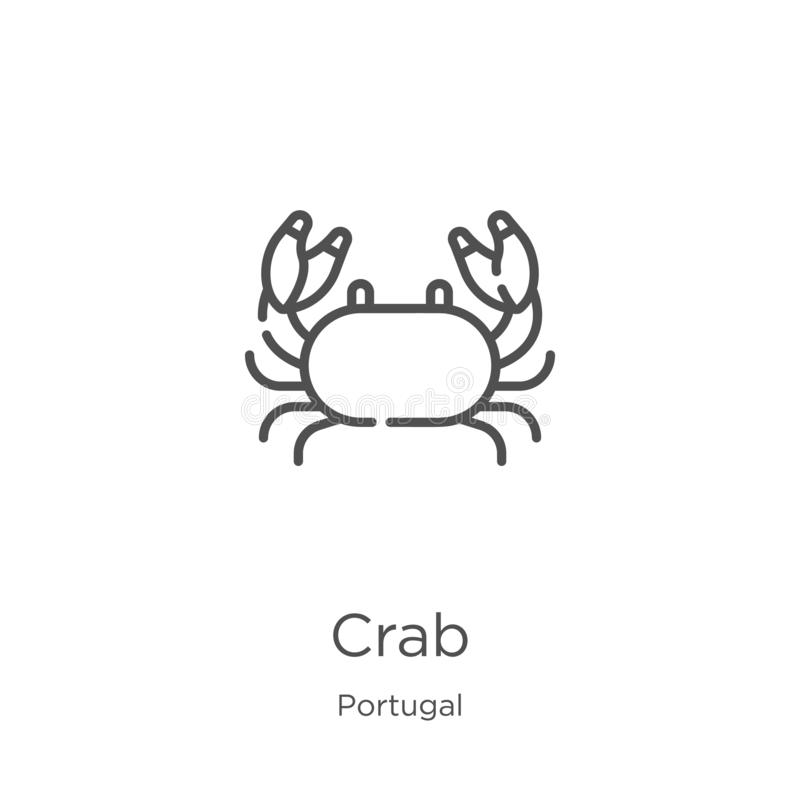 crab icon vector from portugal collection. Thin line crab outline icon vector illustration. Outline, thin line crab icon for vector illustration