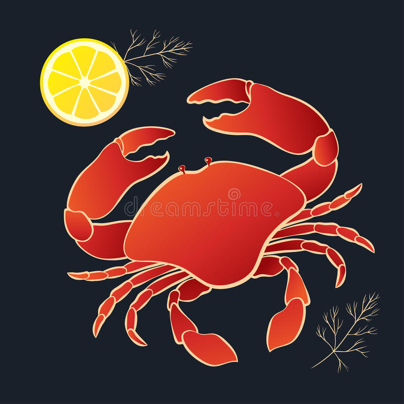 Crab with lemon and dill stock illustration