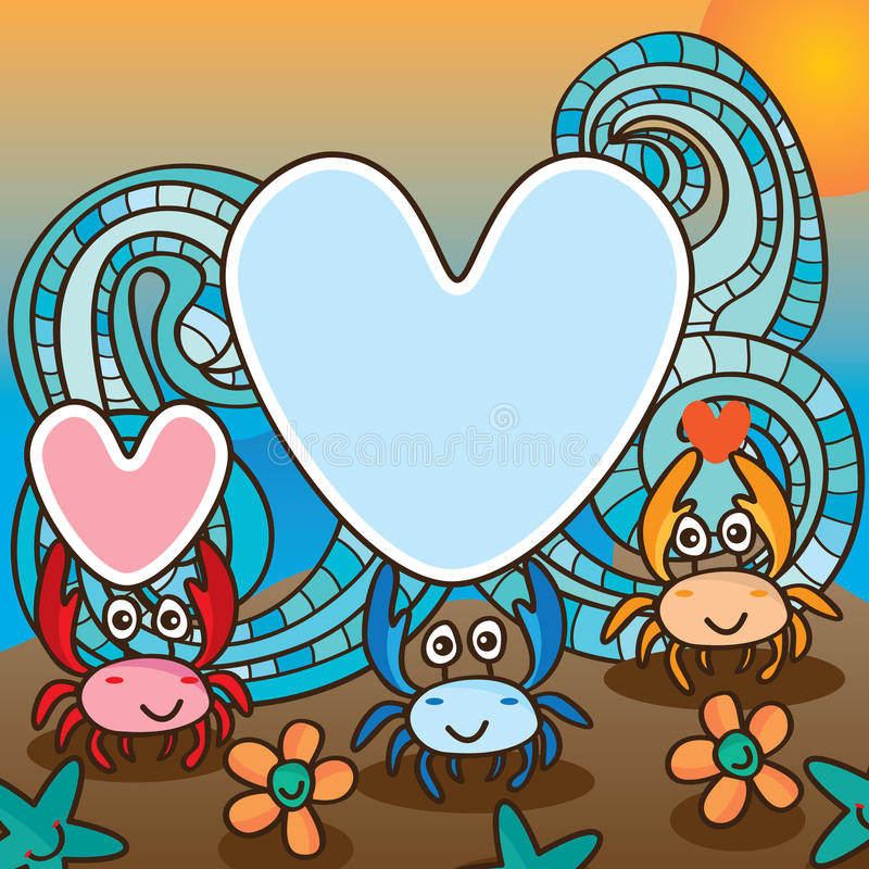 Crab love cute royalty free illustration