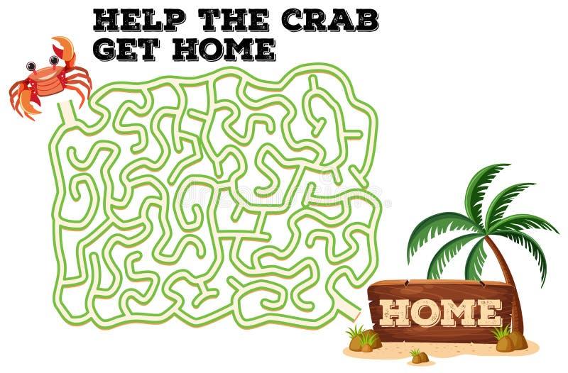 A crab maze game. Illustration stock illustration