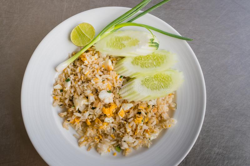 Crab meat fried rice stock photography