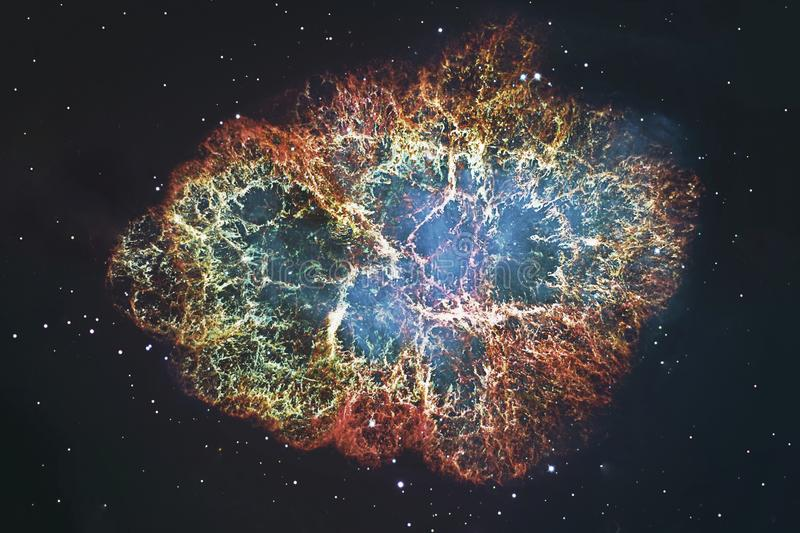 Crab Nebula in constellation Taurus. Supernova Core pulsar neutron star. Elements of this image are furnished by NASA royalty free stock photo