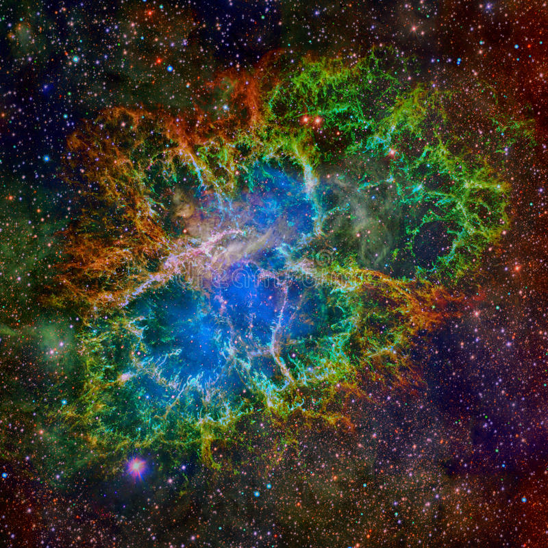 Crab Nebula. Elements of this Image Furnished by NASA stock photos