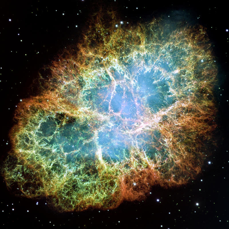 Crab Nebula. Part of the constellation Taurus. Its a remnant of a supernova in the year 1054. Its core is a strong pulsar neutron star. Retouched and cleaned